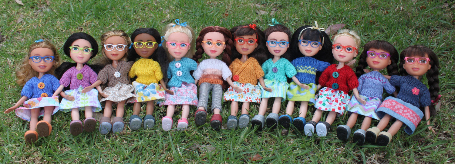 Meet the artist Bethany Fairweather of Fairlight Dolls-dolls wearing 3d printed glasses from Stellar Evolution Designs