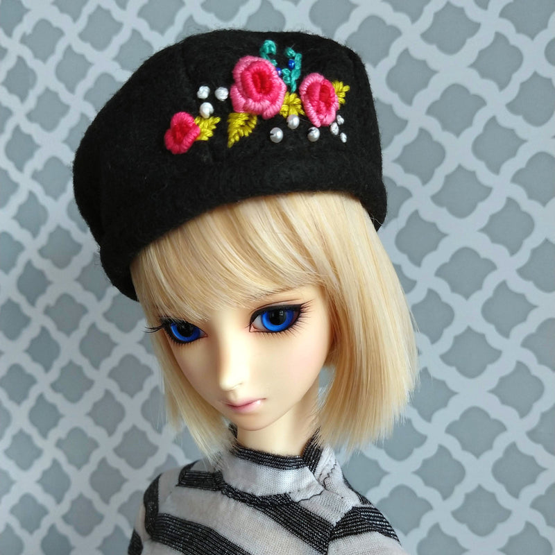 spring beret for ball jointed dolls made in canada