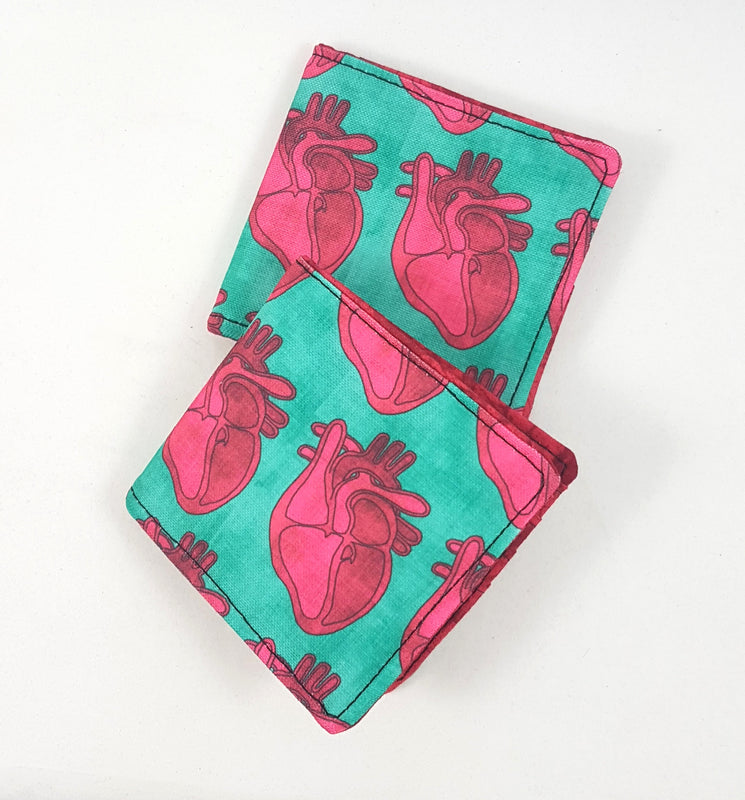 Handmade in Manitoba wallet with anatomical hearts by Stellar Evolution Designs