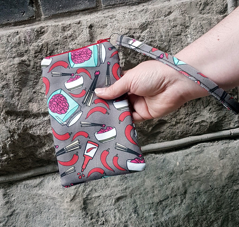 izombie inspired fabric on wristlet from stellar evolution designs