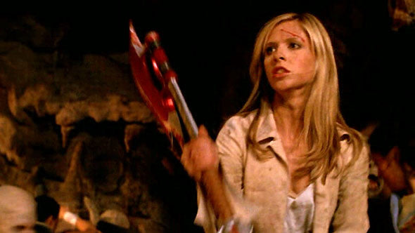 Buffy with scythe