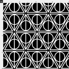 Harry Potter inspired fabrics deathly hallows black and white