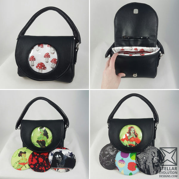 custom purse, choose your own fandom bag, bowler bags, handmade bags and purses by stellar evolution designs