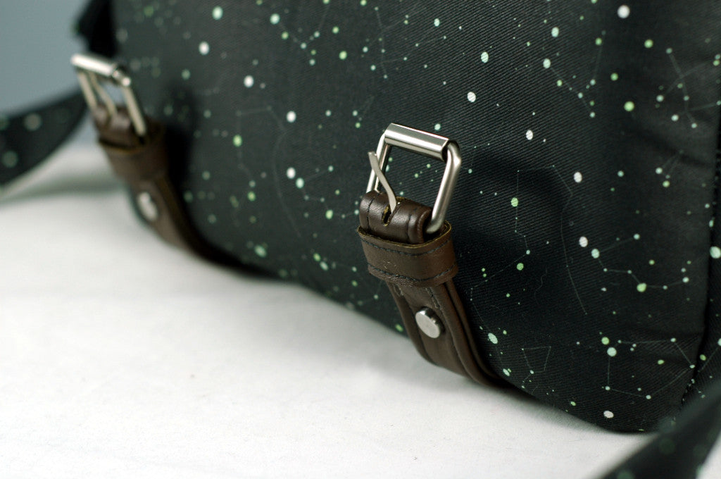 Leather trims on camille camera bag