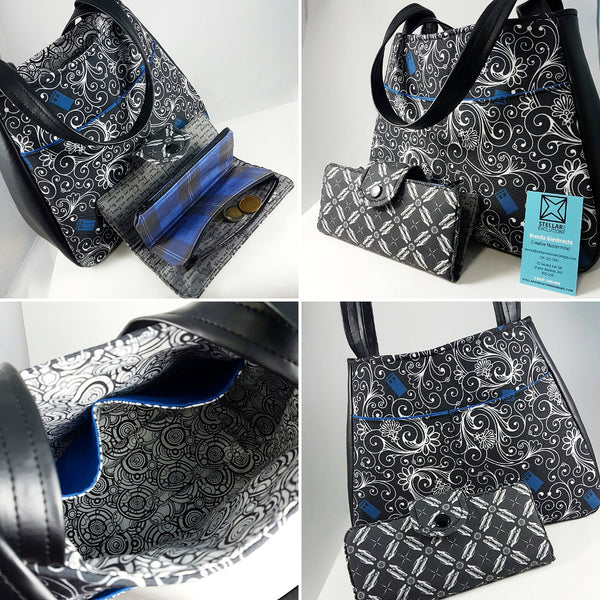 Custom Ethel swoon tote in Tardis swirl material and supernatural theme wallet handmade by stellar evolution designs