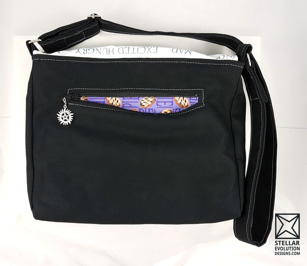 Put pie in your cakehole-or supernatural messenger bag-custom fandom bags by Stellar Evolution Designs
