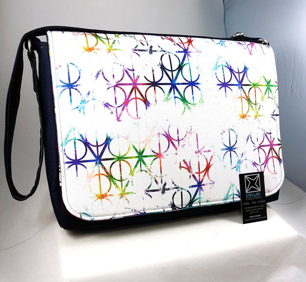 Deathly Hallows Harry Potter inspired watercolour laptop bag-handmade by Stellar Evolution Designs