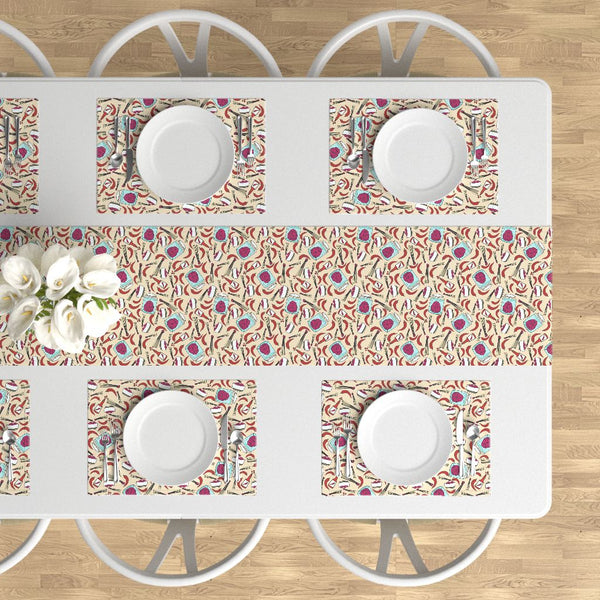 Zombies like it hot table runner and placemats roostery