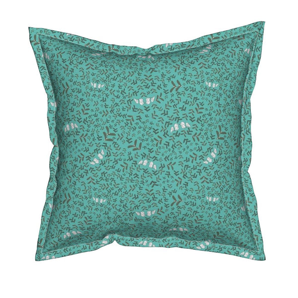 Pillow with Ditsy Mistletoe design by stellar evolution designs