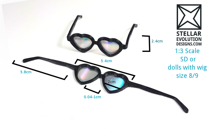 bjd holographic sunnglasses prop measurements