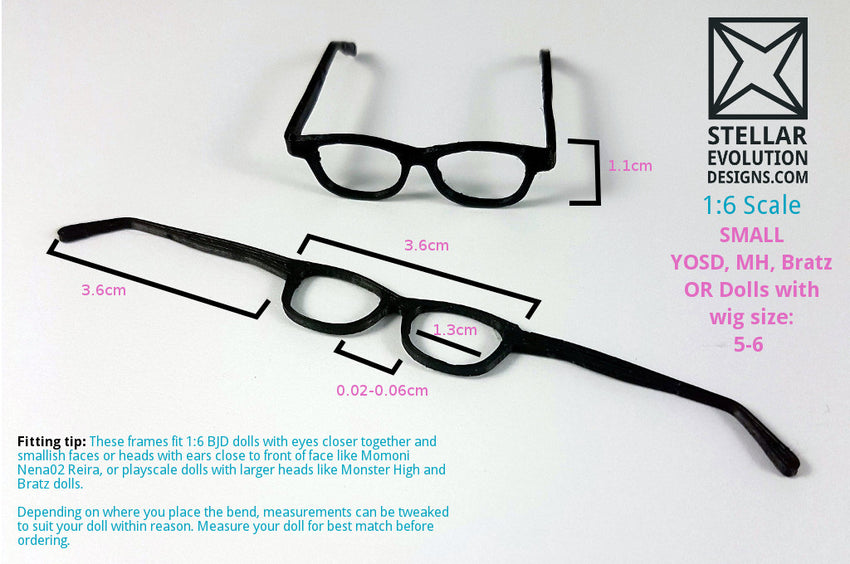 1-6 doll glasses measurements