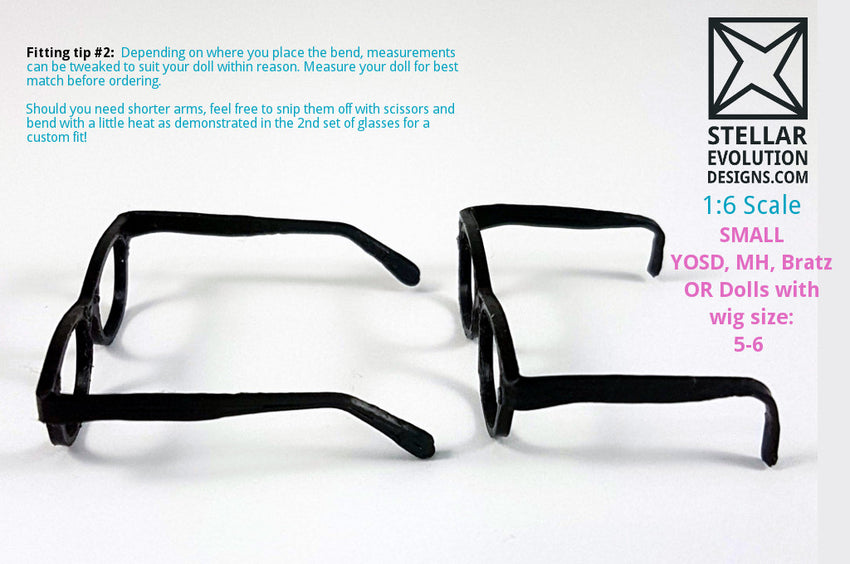 BJD Small YOSD Geek Glasses - White