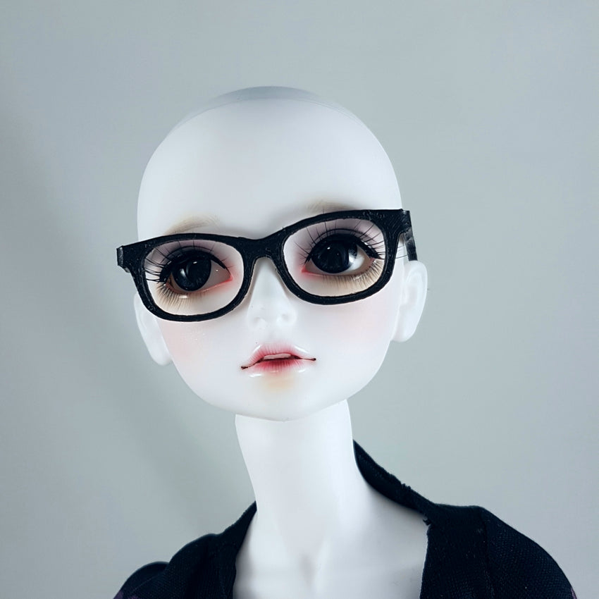 BJD MSD Geek Glasses - Black