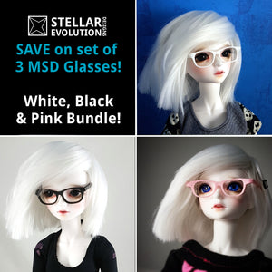 BJD MSD Geek Glasses SET- Black, White, Soft Pink