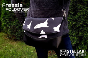 Freesia Foldover Bag Space Shuttle fabric faux leather handmade purse-handmade geekery-Stellar Evolution Designs