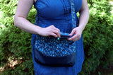 Handmade Whovian Purse with Blue Box and Doctors inside-rose zipper pull
