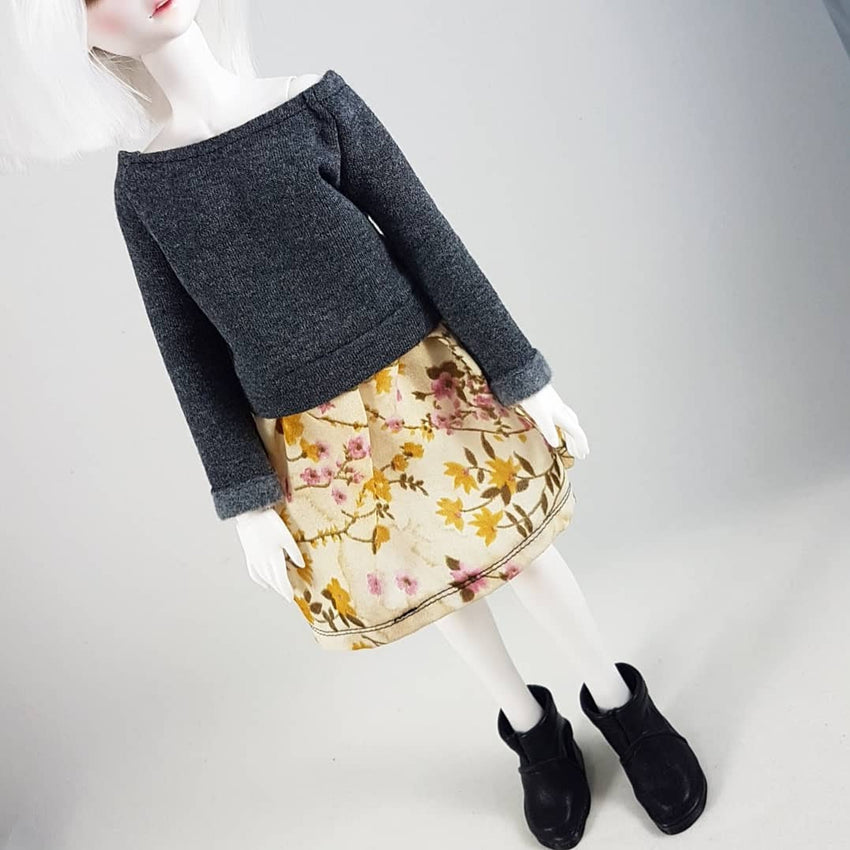 MSD Sweater Dress - Grey with Browns and Pink Flowers