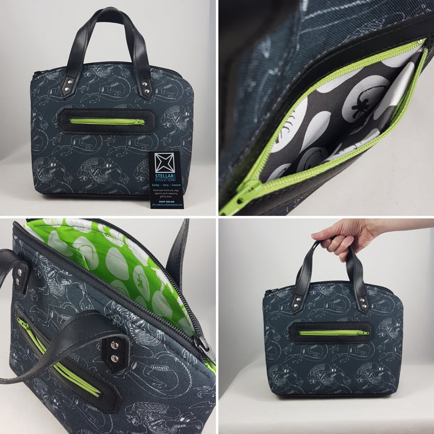Alien fan bag, xenomorphs, facehuggers, retro chic look