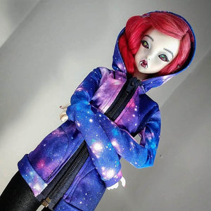 purple space hoodie for smart doll BJD handmade in canada