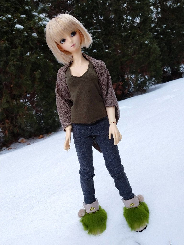 natural olive mukluks for ball jointed dolls handmade in canada