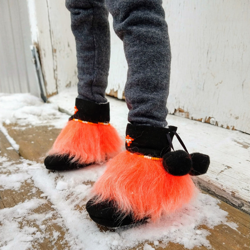 neon orange mukluks for ball jointed dolls handmade in canada