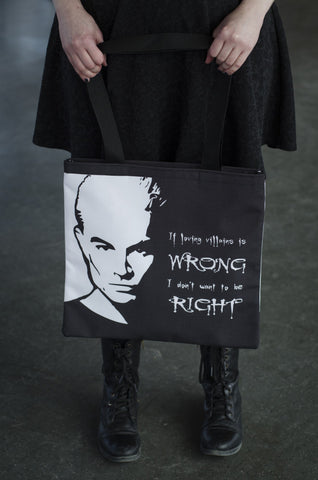 "Spike ""if loving villains is wrong, I don't want to be right"" tote-Buffy the vampire slayer-handmade geekery"