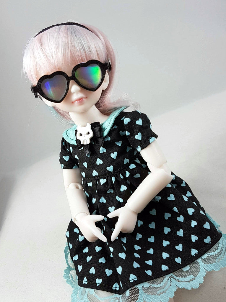 yosd bjd holographic heart sunglasses for doll