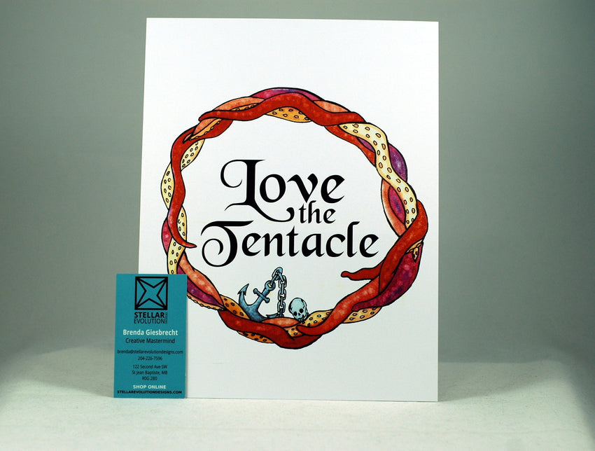 Love the Tentacle Wall Art-geeky wall art-white background-gifts for octopus lovers