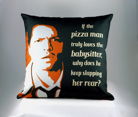 "Custom Castiel Pizza Man quote-""If the pizza man truly loves the babysitter, why does he keep slapping her rear?"" Throw Pillow for Supernatural Fans by Stellar Evolution Designs"