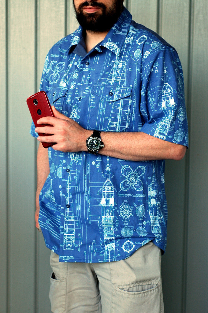 Rocketman short sleeve button up shirt-handmade geekery-Stellar Evolution Designs