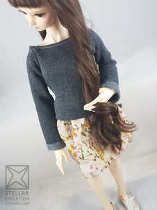 SD Sweater Dress - Grey with Browns, Pink flowers
