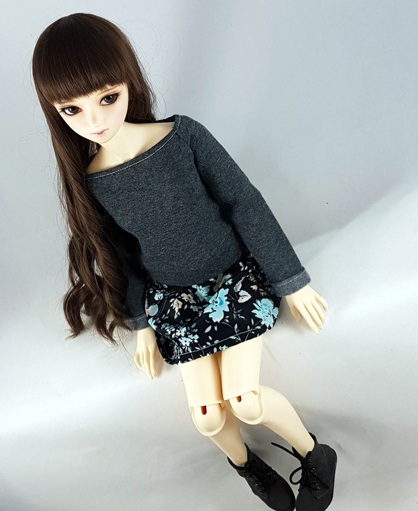 SD Sweater Dress - Grey with Black, Blue and White Flowers