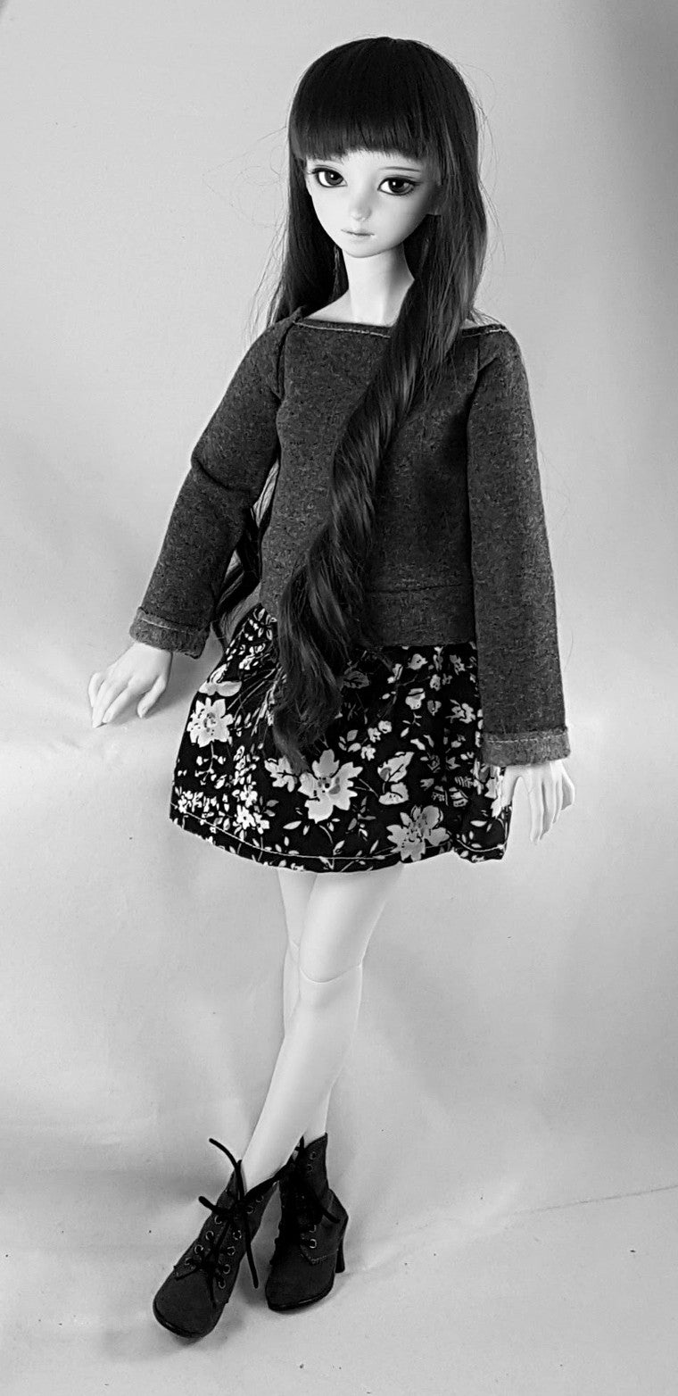 black and white image of sweater dress