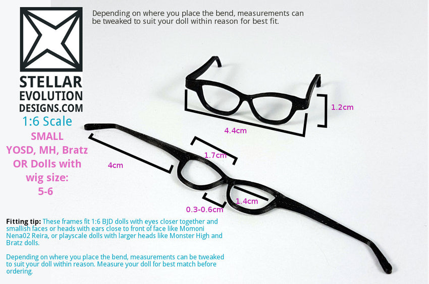 BJD Small YOSD Cat Eye Glasses