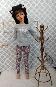 bjd set black cat hat le meow shirt heart leggings