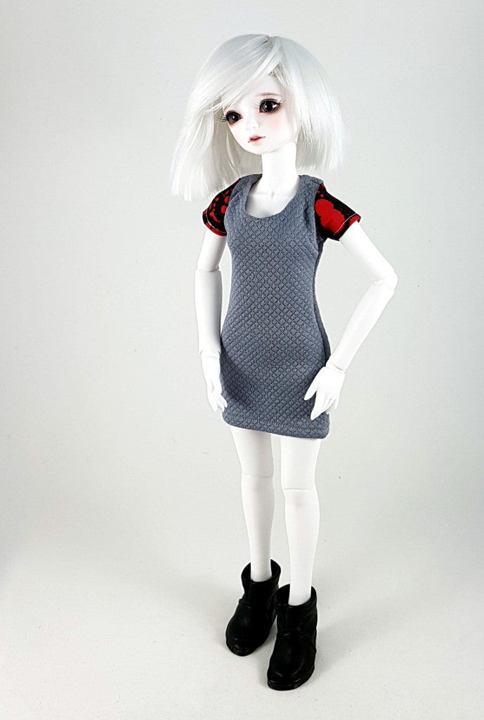 grey with blood sleeves dress