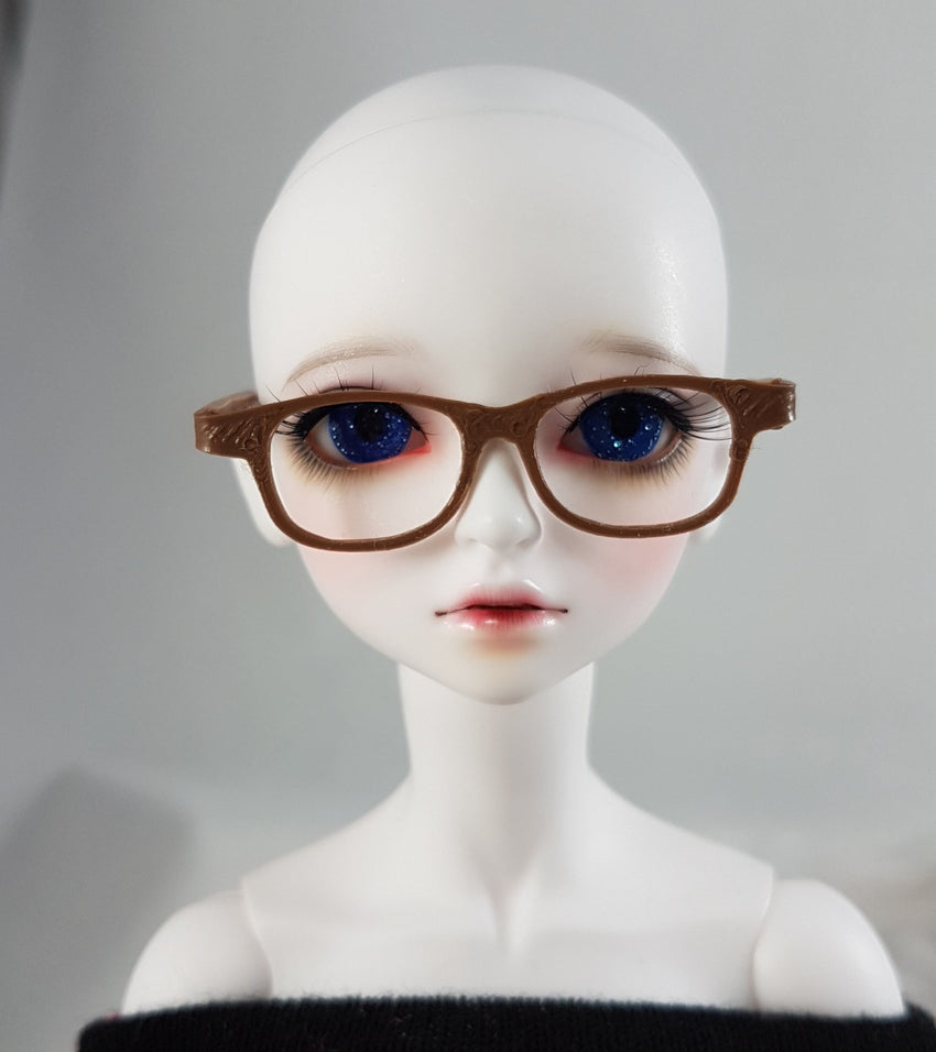 BJD MSD Geek Glasses - Brown