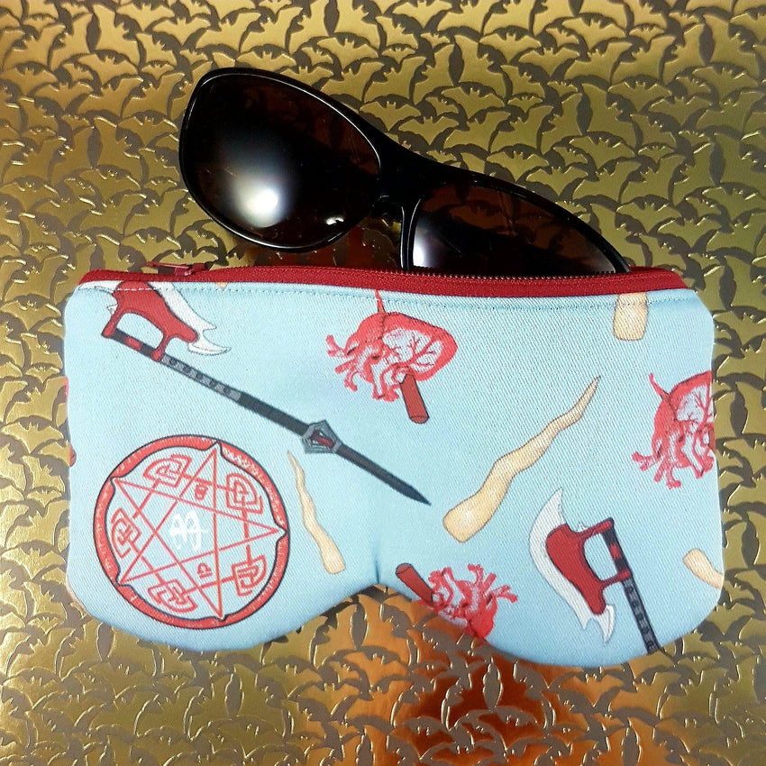 buffy sunglasses case featuring scythe, staked heart, mr pointy, hellmouth