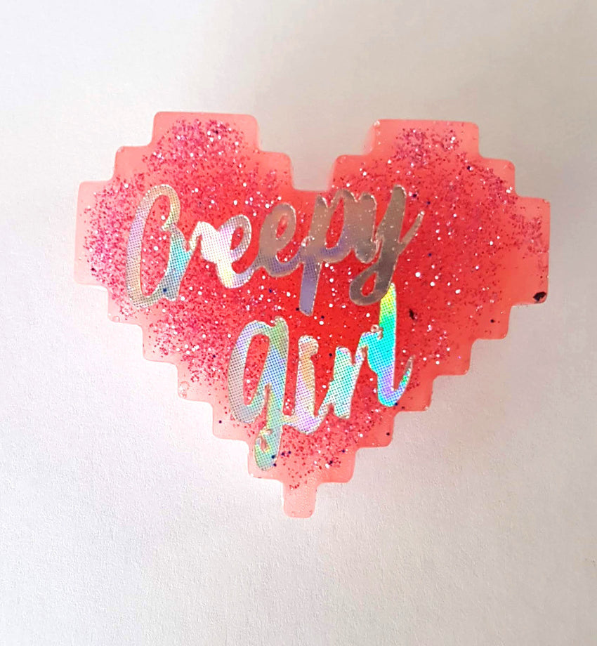 creepy girl heart pin