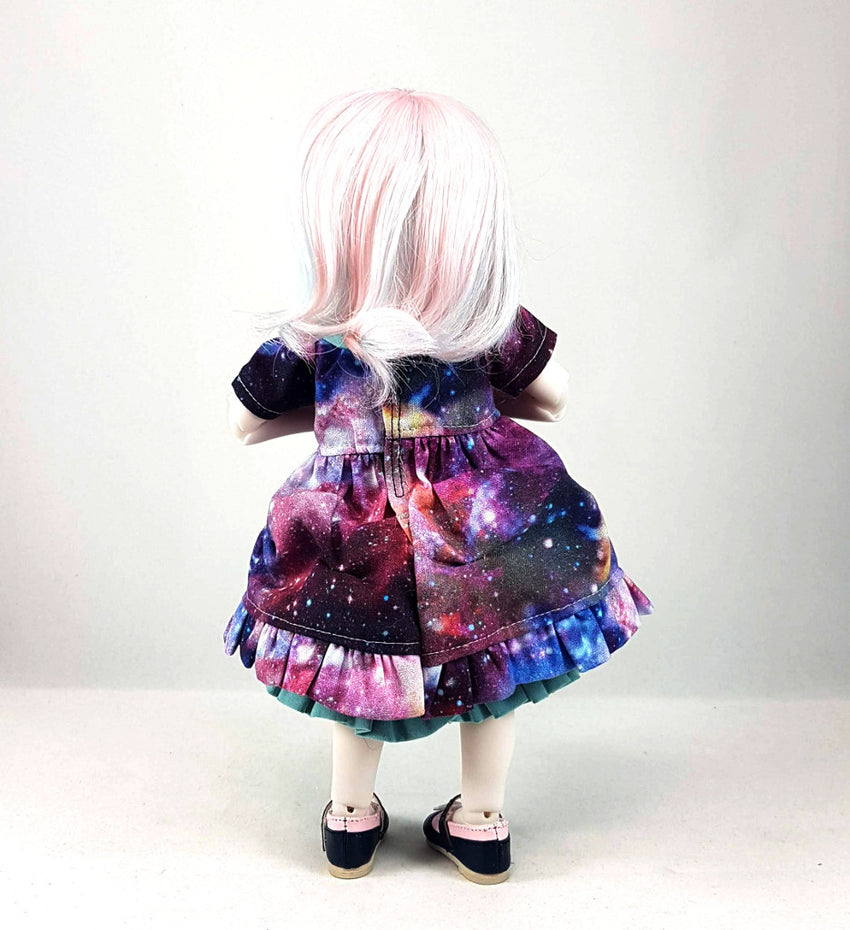 1:6 Galaxy Lolita Dress, Petticoat underskirt and Bloomers Outfit Set - for YOSD BJD (25cm) tall - Dark Galactic