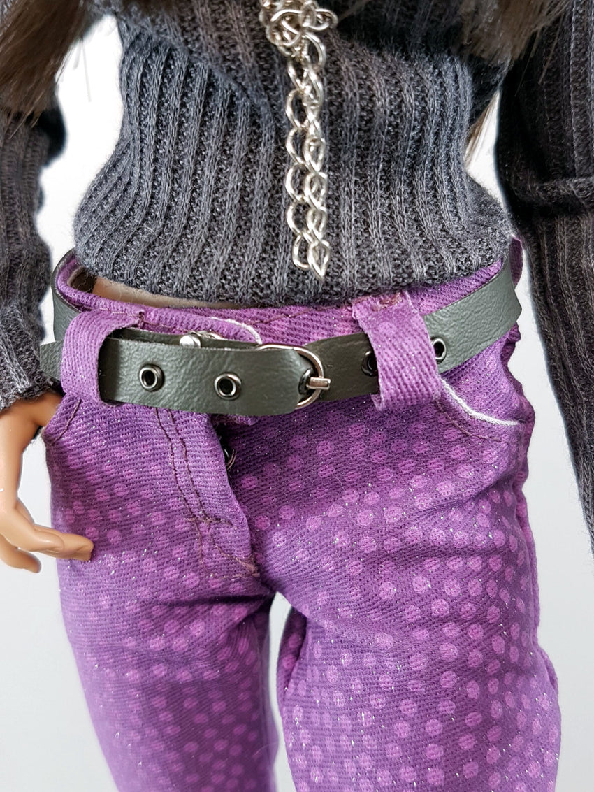 front of purple pants and belt
