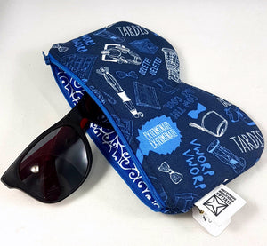 whovian sunglasses zipper case with daleks, fez, sonic screwdriver, tardis and more from doctor who