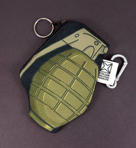 Grenade coin purse handmade and designed by stellar evolution designs