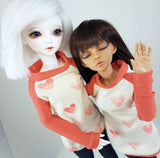 You blinked! salmon pink hearts shirt for minifee and msd's bjd