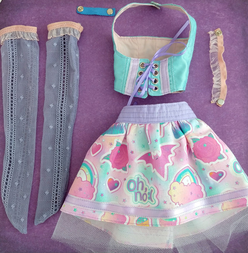 outfit for sd bjd made in canada containing purple stockings, pastel kawaii skirt, blue corset