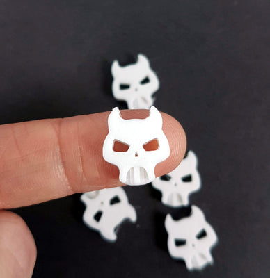 3D Printed Devil Horns Skull Buttons - 3 sizes