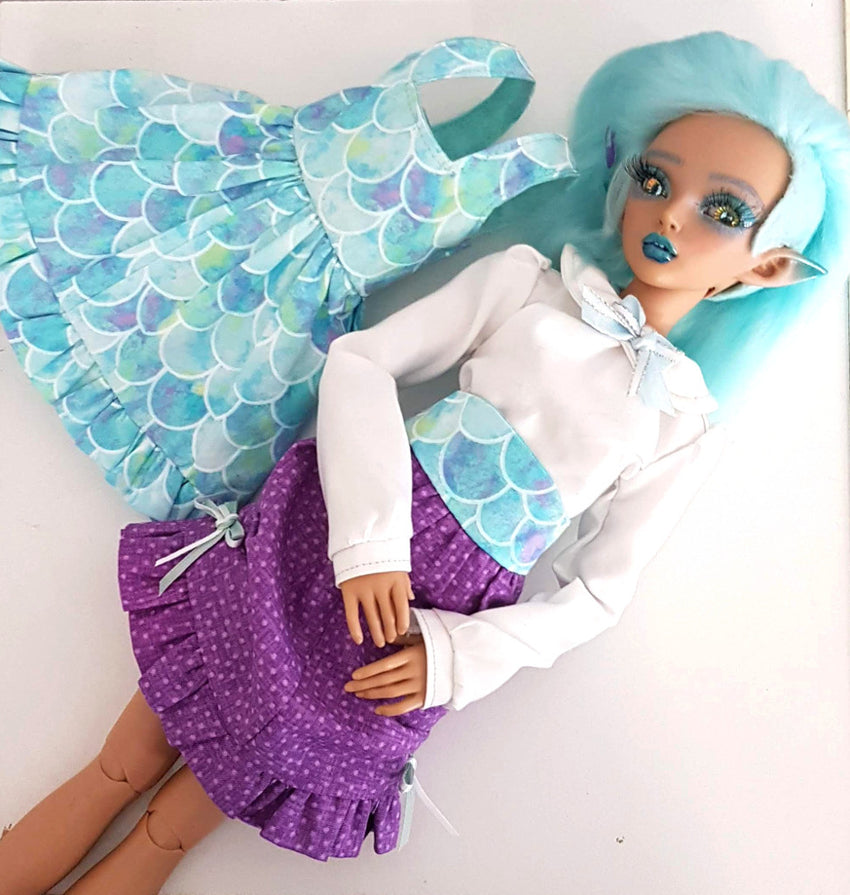 1:4 Lolita Dress, Petticoat underskirt Outfit Set - for MSD or Minifee BJD - Mermaid Ruffles