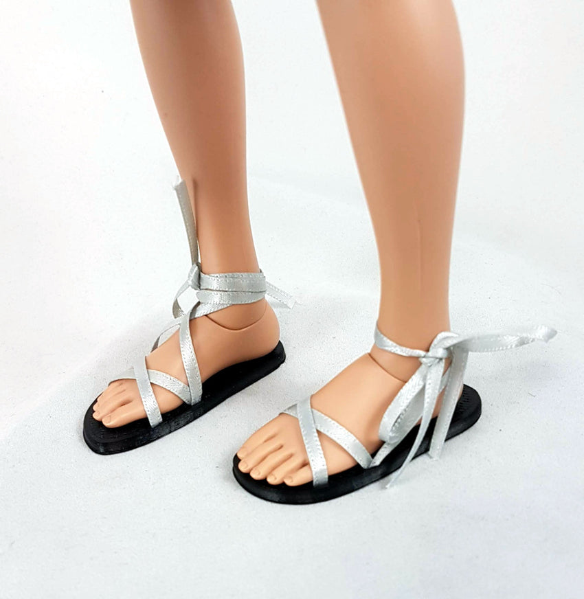 minifee A-line 3d printed ribbon sandals with removable ribbons