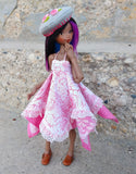 rose print dress with hand embroidered beret on momonitia bjd