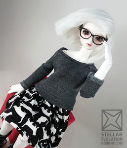 MSD Sweater Dress - Grey with Black and White Cats